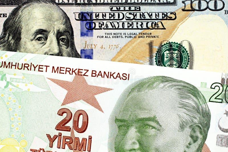 Dwadzieścia Tureckiego lira banknot z Amerykańskimi sto dolarowymi rachunkami obraz royalty free