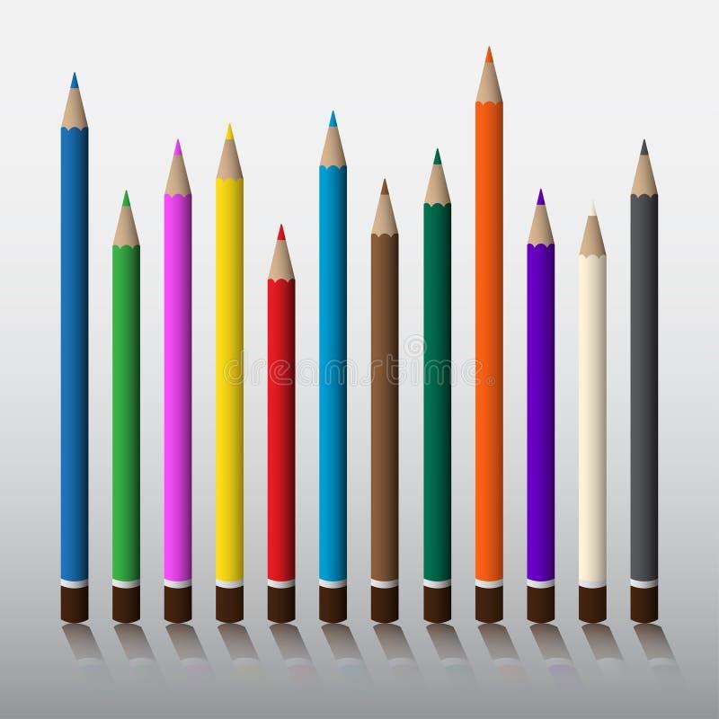 Dwanaście Barwionych ołówków royalty ilustracja