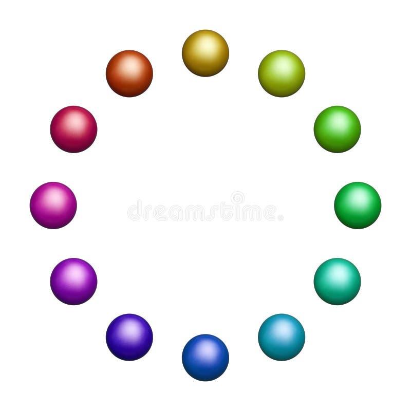 Dwanaście barwionych piłek ilustracja wektor