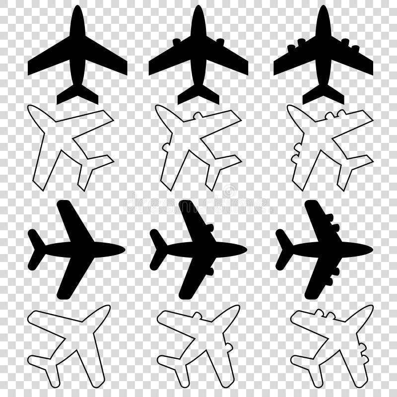 dwanaście czarnych białego samolotu ikon opróżniają tło royalty ilustracja