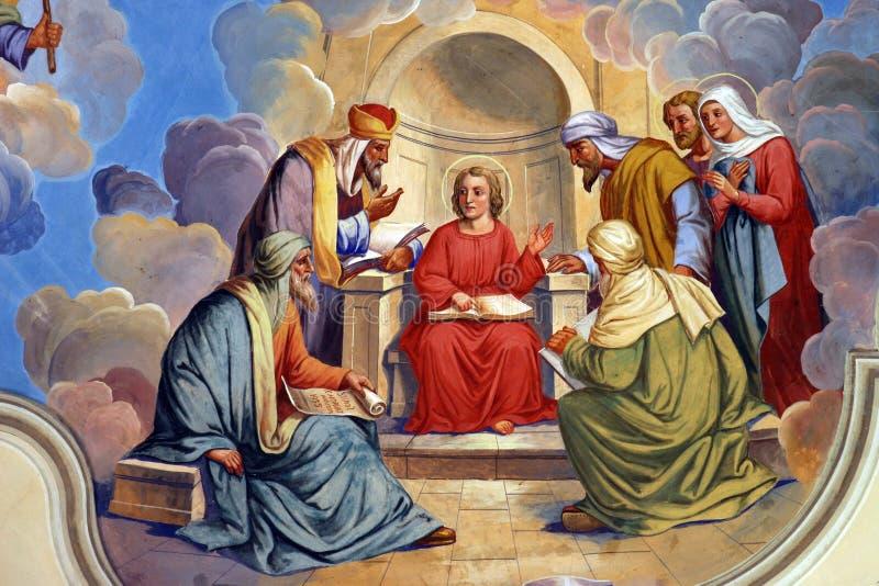 Dwanaście Jezus w świątyni roczniak zdjęcie stock