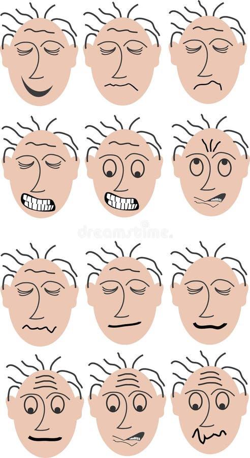 dwanaście różnych mimicy royalty ilustracja
