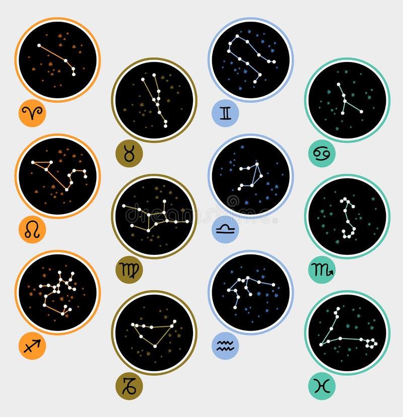 Dwanaście zodiaków znaków i gwiazdozbiory ilustracji