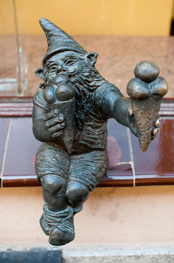 Dwarf Bartonik, Wroclaw. Symbol of Wroclaw, brass dwarf. There are more than 230 in the city and still they come stock photos