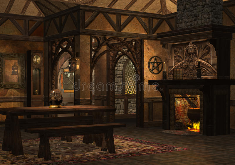 Dwarf cottage. 3D rendered dwarf cottage with fireplace on evening royalty free illustration
