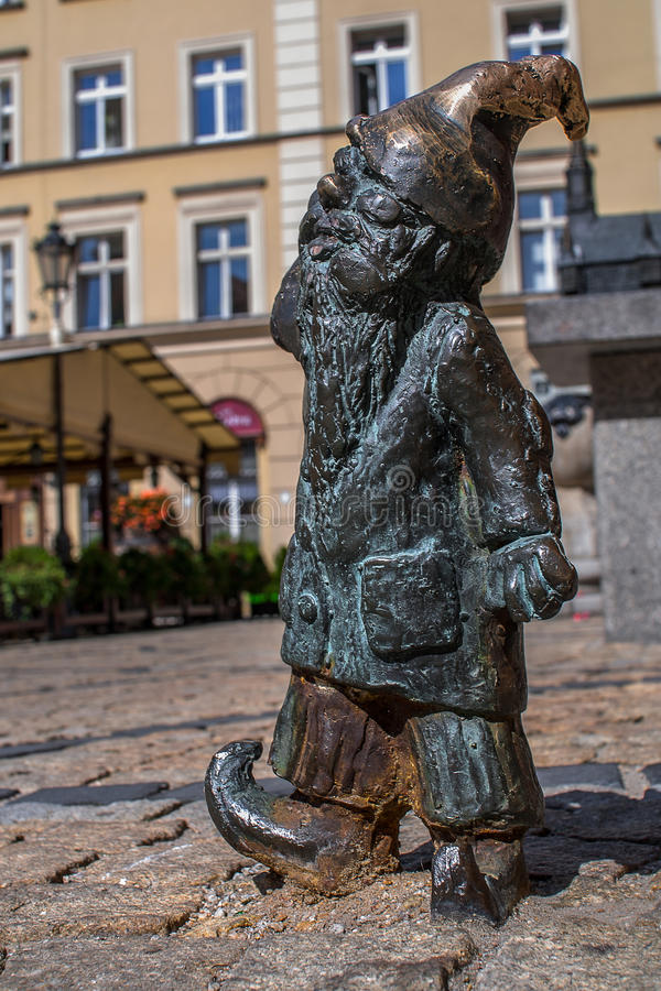 Dwarf Gluchek Wroclaw. Symbol of Wroclaw, brass dwarf. There are more than 230 in the city and still they come royalty free stock image