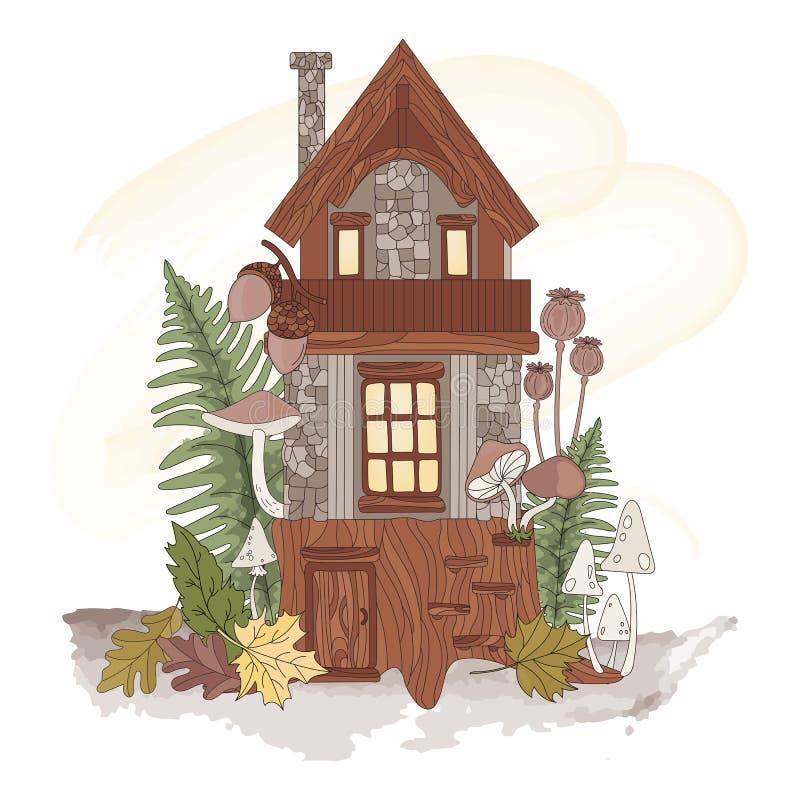 DWARF HOUSE Autumn Forest Nature, набор иллюстраций вектора природы иллюстрация вектора