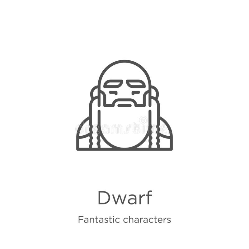 dwarf icon vector from fantastic characters collection. Thin line dwarf outline icon vector illustration. Outline, thin line dwarf royalty free illustration