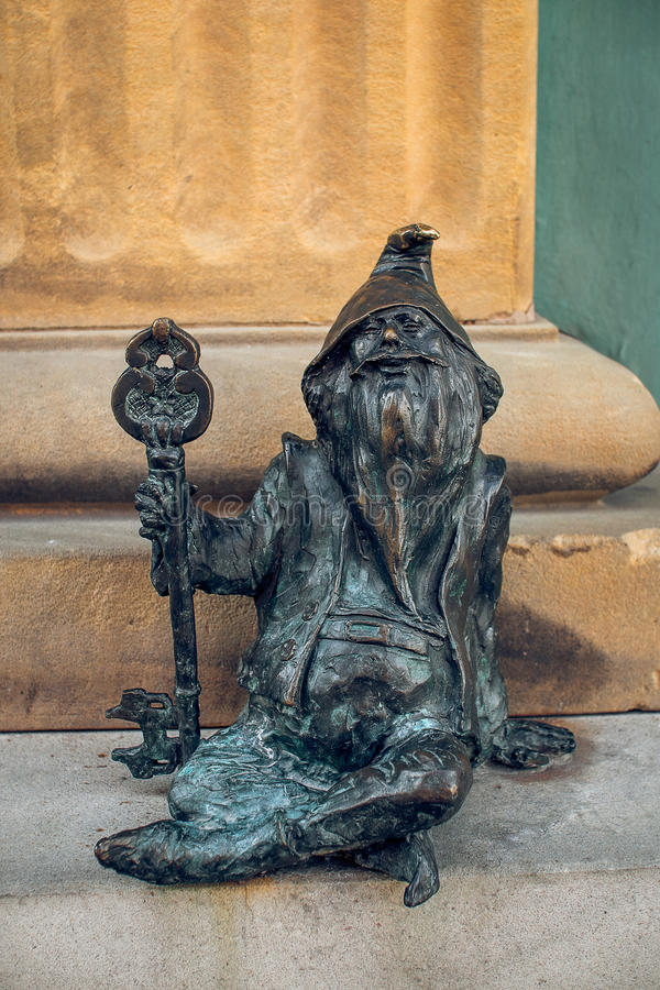 Dwarf Klucznik Wroclaw. Symbol of Wroclaw, brass dwarf. There are more than 230 in the city and still they come stock images