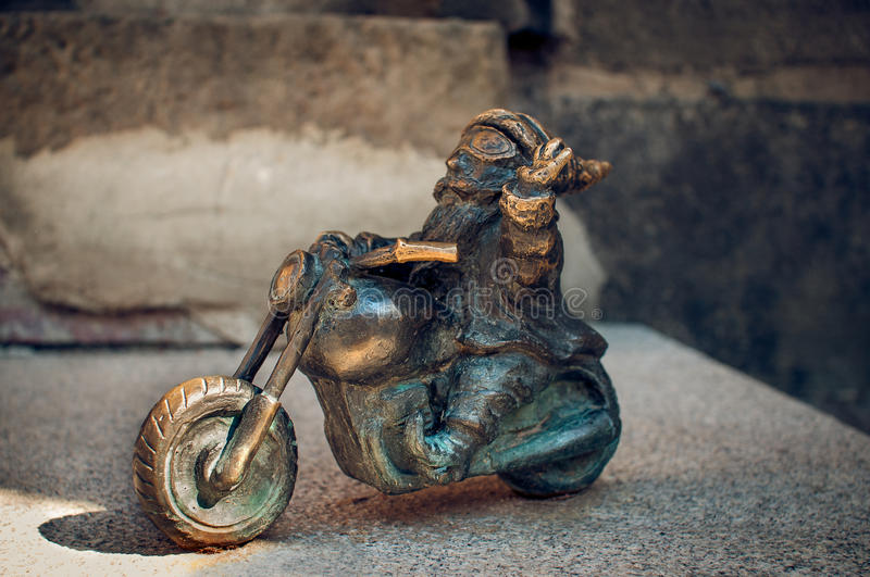 Dwarf Motocyklista Wroclaw. Symbol of Wroclaw, brass dwarf. There are more than 230 in the city and still they come stock images