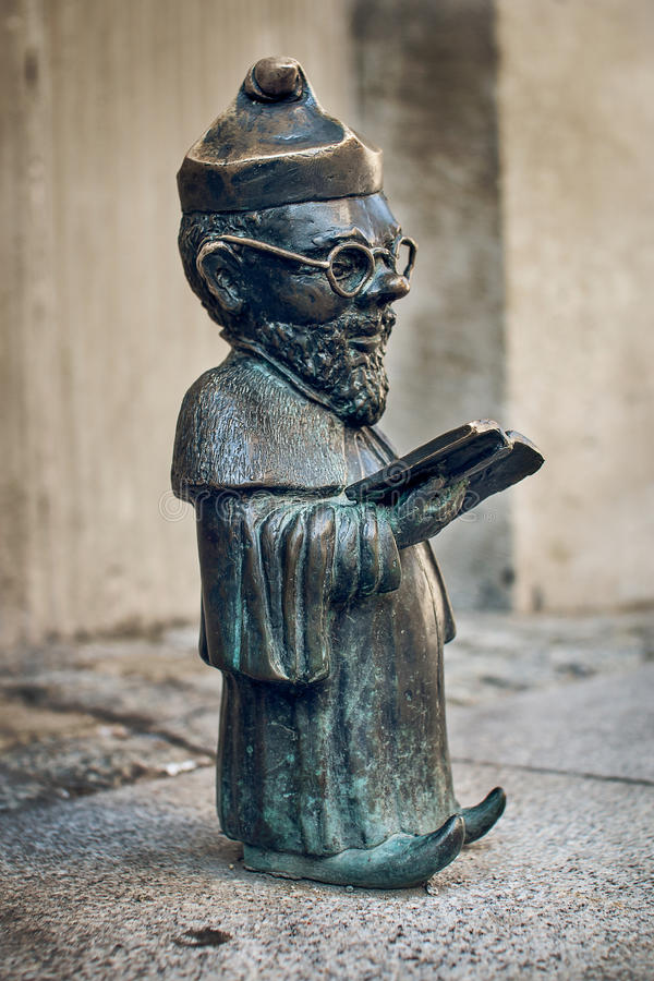 Dwarf Profesorek Wroclaw. Symbol of Wroclaw, brass dwarf. There are more than 230 in the city and still they come royalty free stock photography