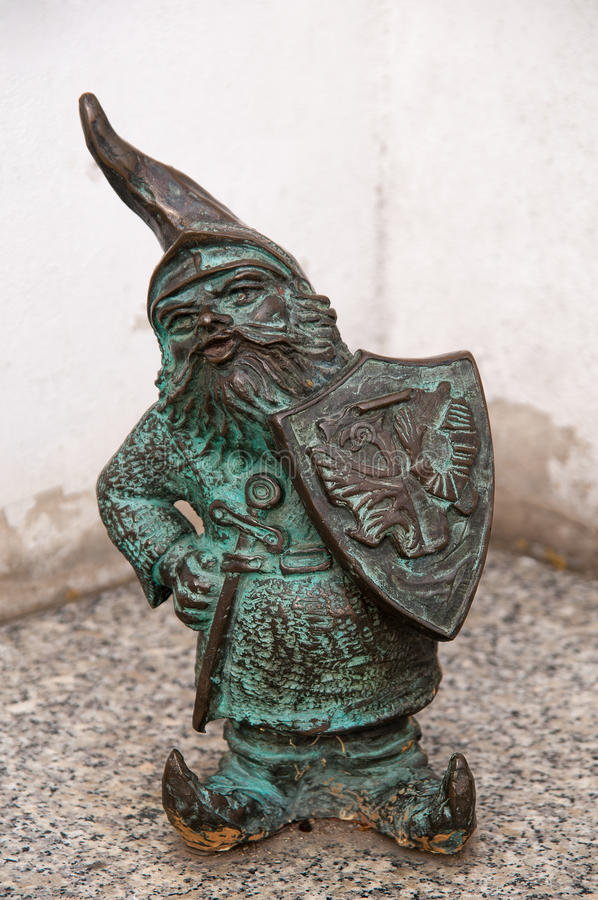 Dwarf Rycerz Jadwizanski, Wroclaw. Symbol of Wroclaw, brass dwarf. There are more than 230 in the city and still they come royalty free stock image