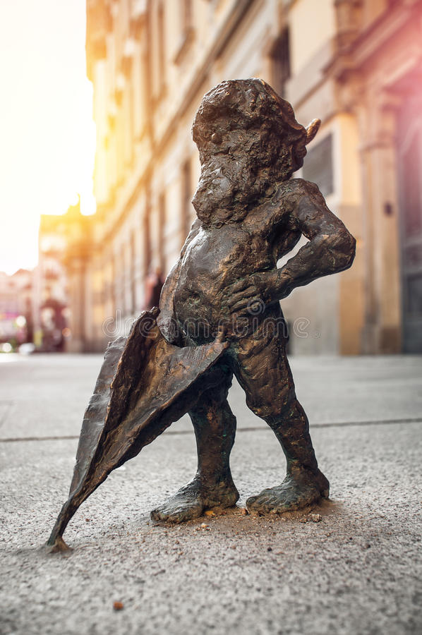 Dwarf Szermierz Wroclaw. Symbol of Wroclaw, brass dwarf. There are more than 230 in the city and still they come royalty free stock images