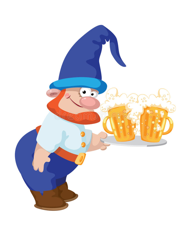 Dwarf And A Tray With A Beer Stock Image
