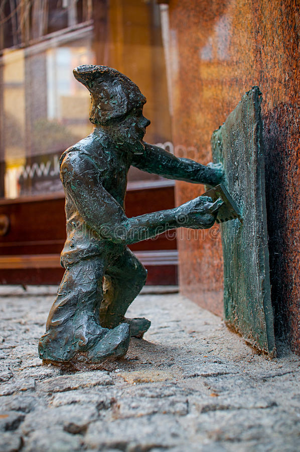 Dwarf Tynqus, Wroclaw. Symbol of Wroclaw, brass dwarf. There are more than 230 in the city and still they come royalty free stock images