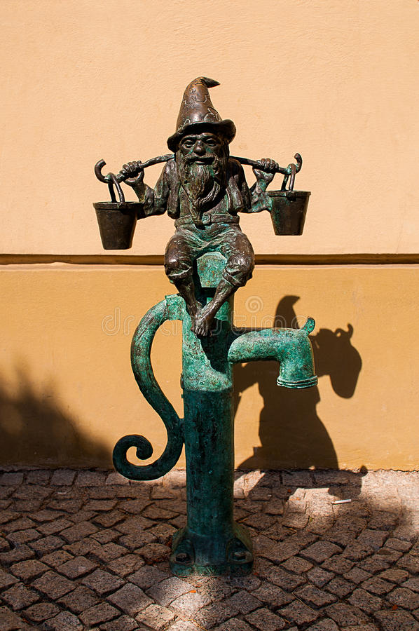 Dwarf Wodziarz Wroclaw. Symbol of Wroclaw, brass dwarf. There are more than 230 in the city and still they come royalty free stock photo