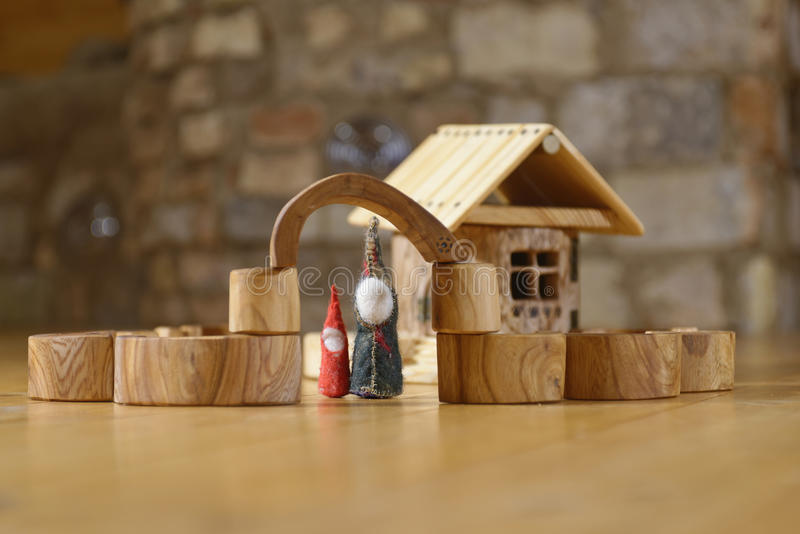Dwarfs at the wooden house royalty free stock photography