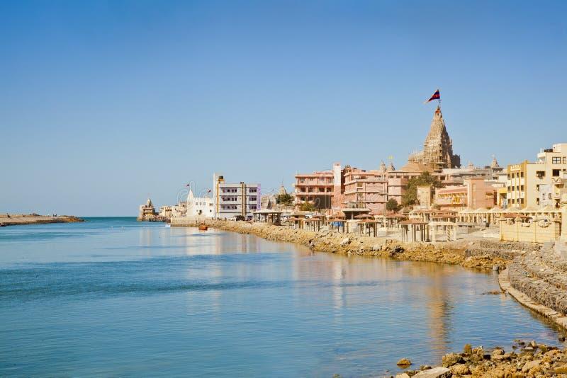 Dwarka海湾从郊外印度的 免版税库存图片
