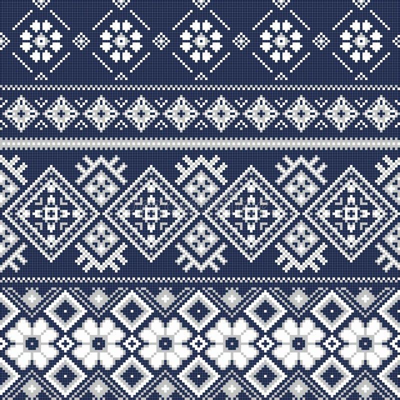 Dwars de winterstijl van het steekborduurwerk vector illustratie