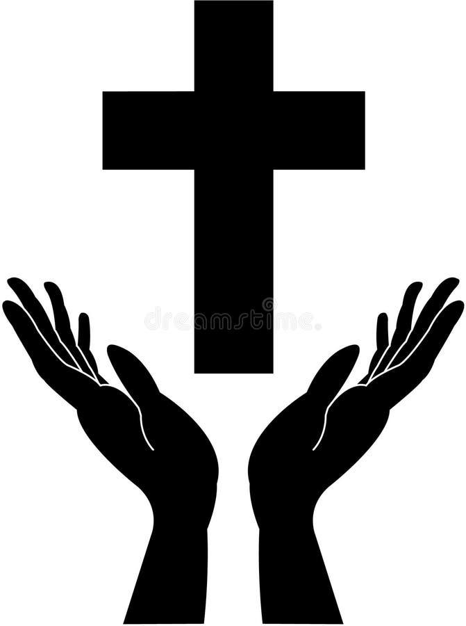 Dwars en bidden-careing hand stock afbeelding
