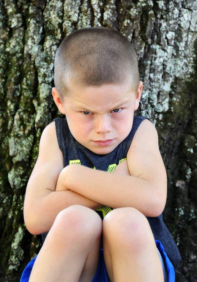 Dwars en Verstoord Little Boy stock fotografie