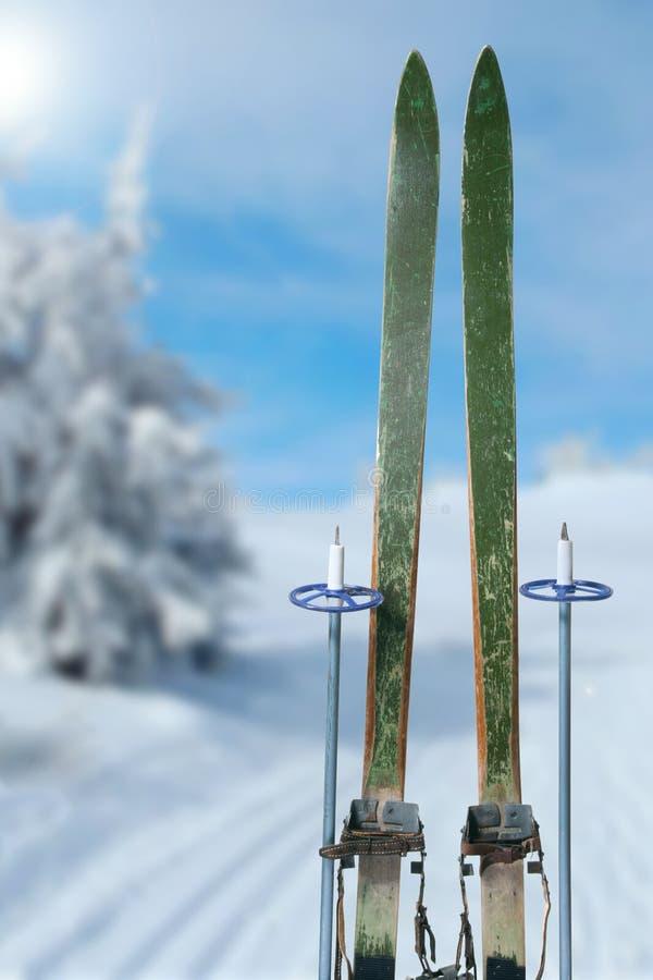 Dwars land die op een zonnige de winterdag ski?en stock afbeeldingen