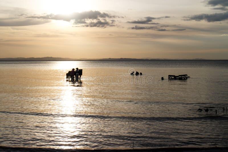 Dwars-licht van mensen in het meer van Nicaragua royalty-vrije stock afbeelding