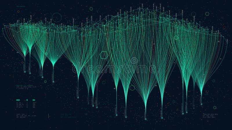 Dwars-middelen die netwerk op de markt brengen die verbindingen, wolkengegevens gegevensverwerking en neuraal netwerk vertegenwoo vector illustratie