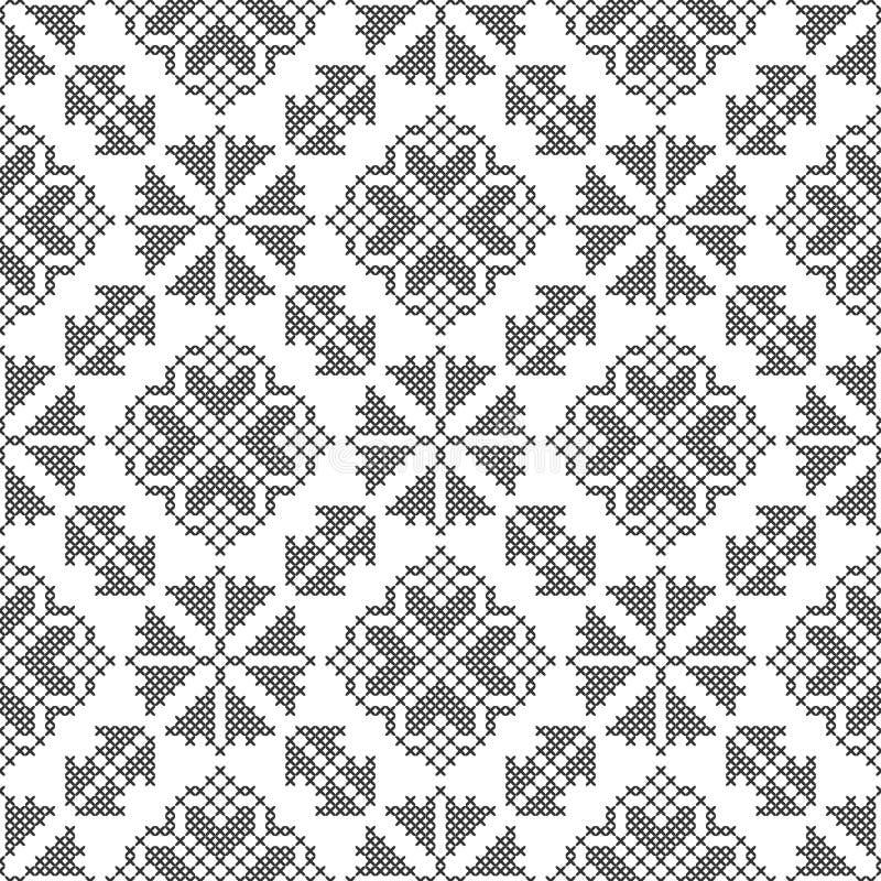 Dwars-steek Zwart-wit naadloos decoratief patroon Gesierde achtergrond voor ontwerp, behang, textiel royalty-vrije illustratie