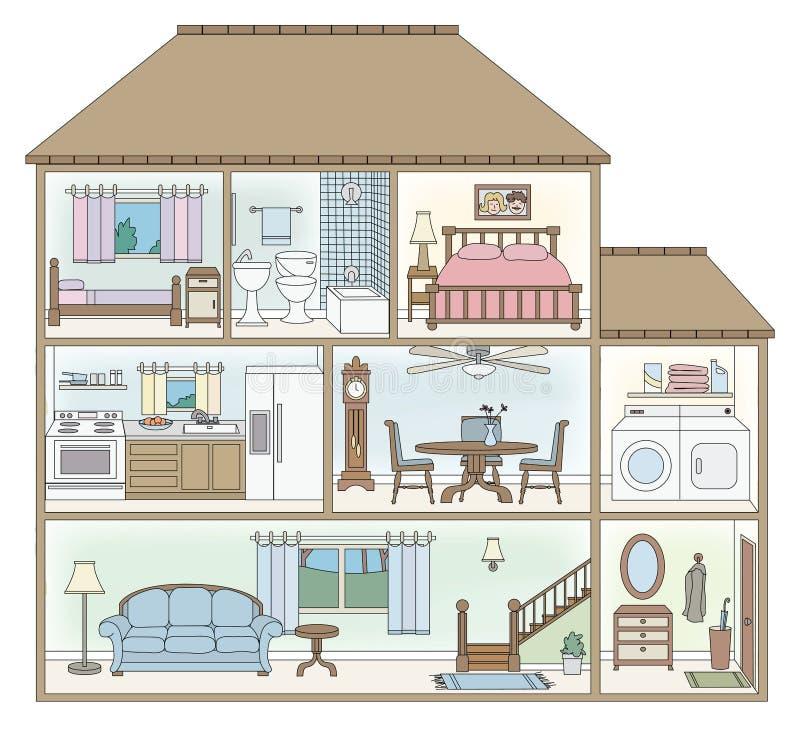 De dwarsdoorsnede van het huis stock illustratie
