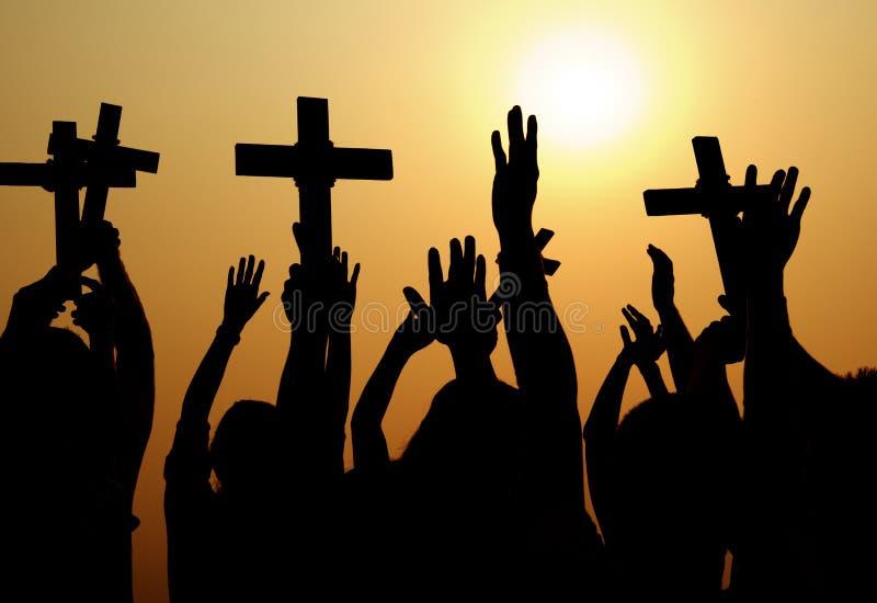 Dwarsgodsdienst Katholiek Christian Community Concept royalty-vrije stock foto