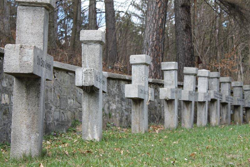 Dwarsgrafstenen in Begraafplaats royalty-vrije stock foto's