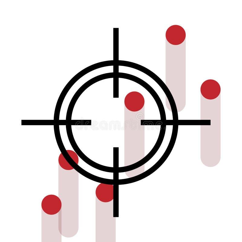 Dwarshaar met het aftappen van kanon geschotene gaten. vector illustratie