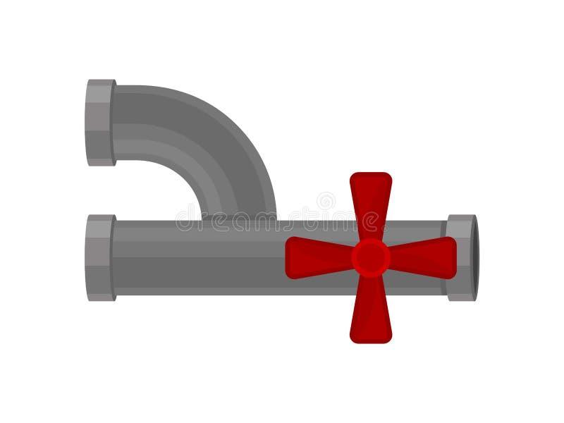 Dwarsklep op een grijze plastic waterpijp vector illustratie