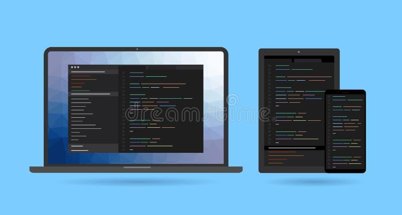Dwarsplatformsoftware-ontwikkeling en codage stock illustratie