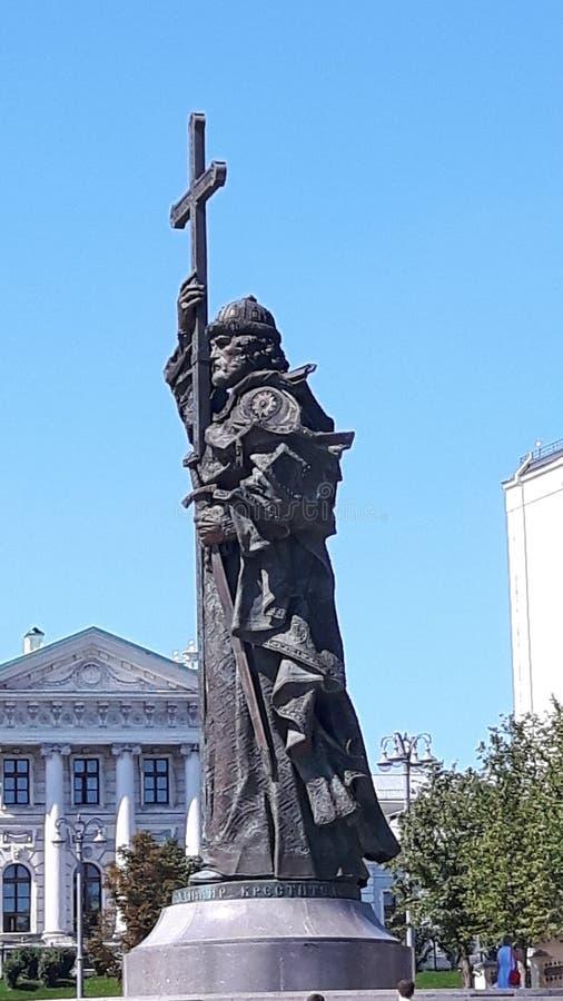 Dwarsstandbeeld in Moskou stock foto