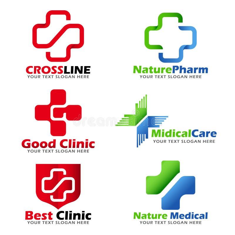 Dwarsteken voor Medische kliniek en het Natuurlijke vector vastgestelde ontwerp van het zorgembleem royalty-vrije illustratie
