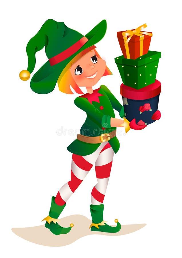 Dwarv di Santa su un fondo bianco Personaggio dei cartoni animati del bambino dell'assistente dell'elfo di Santa Claus royalty illustrazione gratis