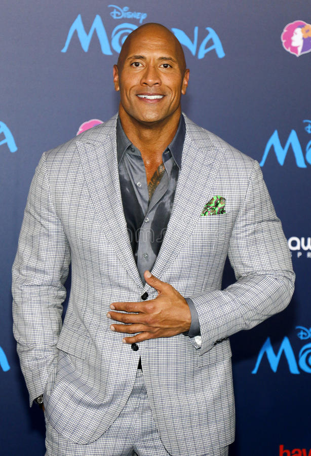 Dwayne Johnson. At the AFI FEST 2016 Premiere of `Moana` held at the El Capitan Theatre in Hollywood, USA on November 14, 2016 royalty free stock photo
