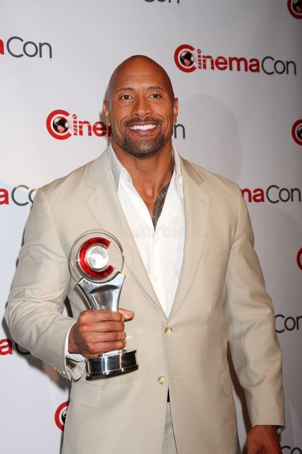 Dwayne Johnson chega na apresentação dos estúdios de Paramount em CinemaCom 2012 fotografia de stock royalty free