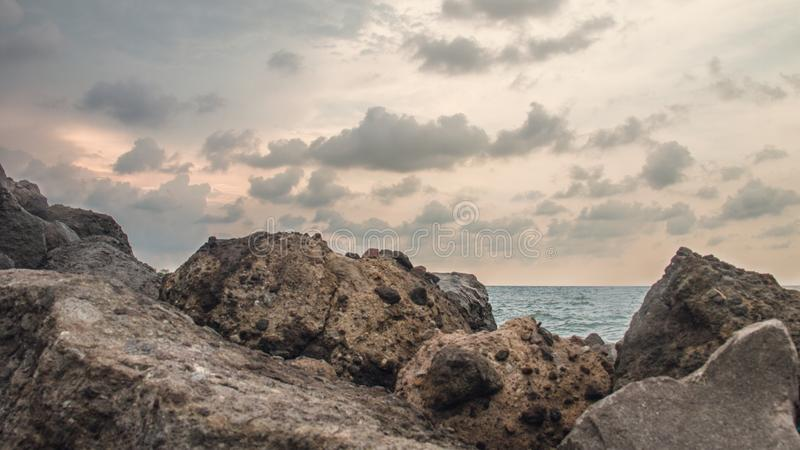 Dwayne Johnson nella spiaggia, a Marina Beach Semarang Indonesia 4 immagine stock libera da diritti