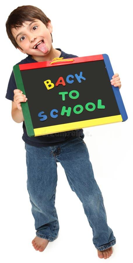 Dwaze Jongen met terug naar School royalty-vrije stock afbeelding