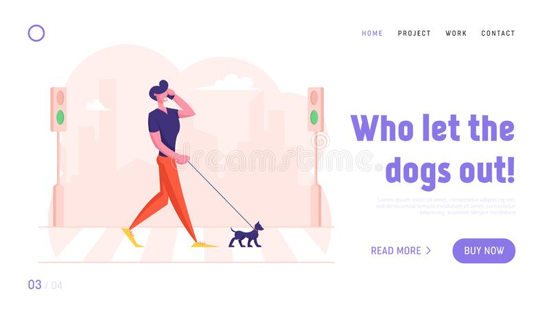 Dweller Having Promenade with Pet Website Landing Page. Relaxed Pedestrian with Dog Talking by Smartphone. Walking by Crosswalk over Road with Zebra Web Page royalty free illustration