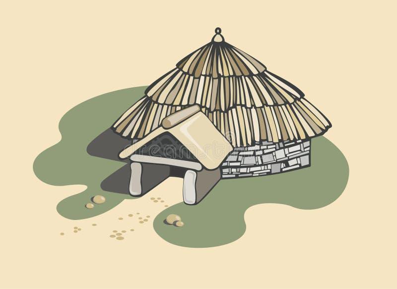 Dwelling cabin Celtic. Vector illustration stock illustration