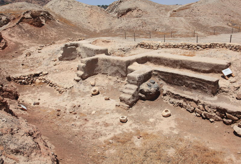Dwelling Foundations, Tell es-Sultan, Jericho. The archaeological site of Tell es-Sultan in the Judaean Desert, near the town of Jericho in the district of Judea royalty free stock image