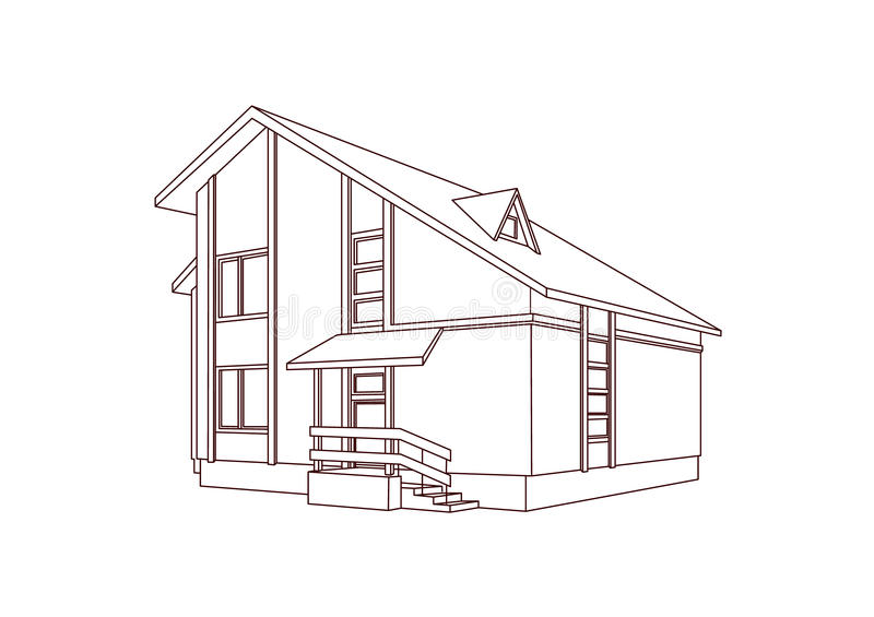 Dwelling house. Perspective image. Vector illustration vector illustration