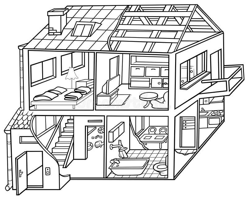 Dwelling House. Black and White Cartoon illustration, Vector stock illustration