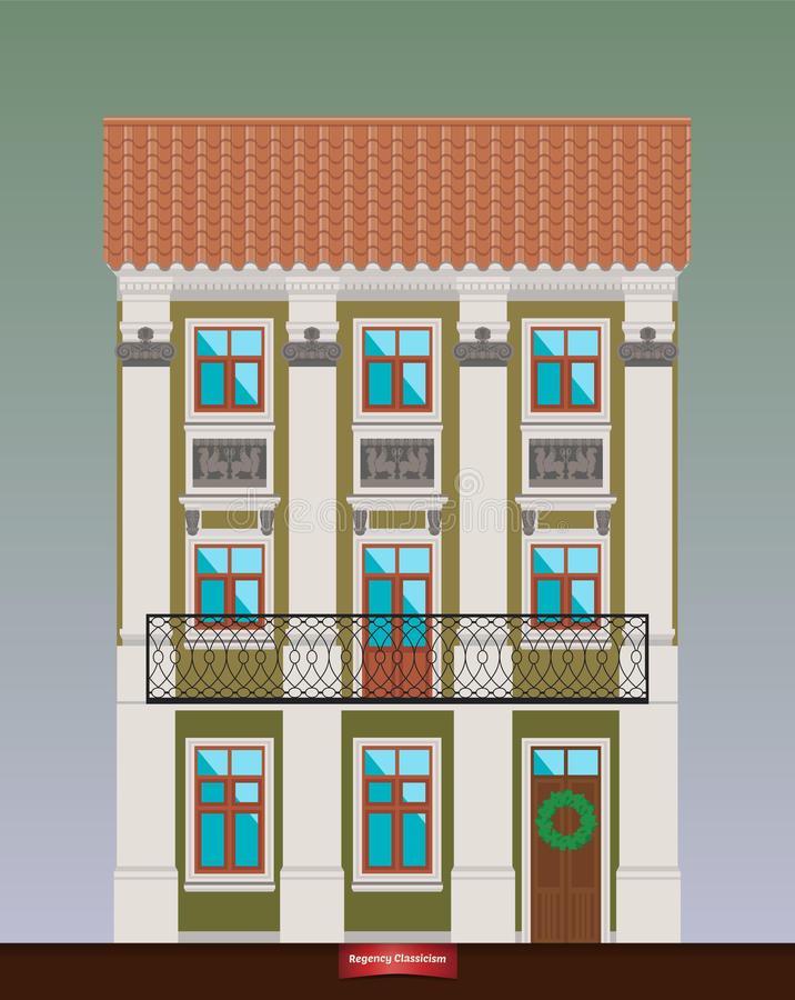 Dwelling house in Classicism style. Classical town. Classical town architecture. Vector building. City infrastructure. Cityscape old beautiful building. Real stock illustration