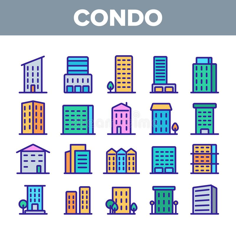 Dwelling House, Condo Linear Vector Icons Set. Condo, Apartment Buildings Thin Line Contour Symbols Pack. Residential Area, Metropolis Pictograms Collection vector illustration