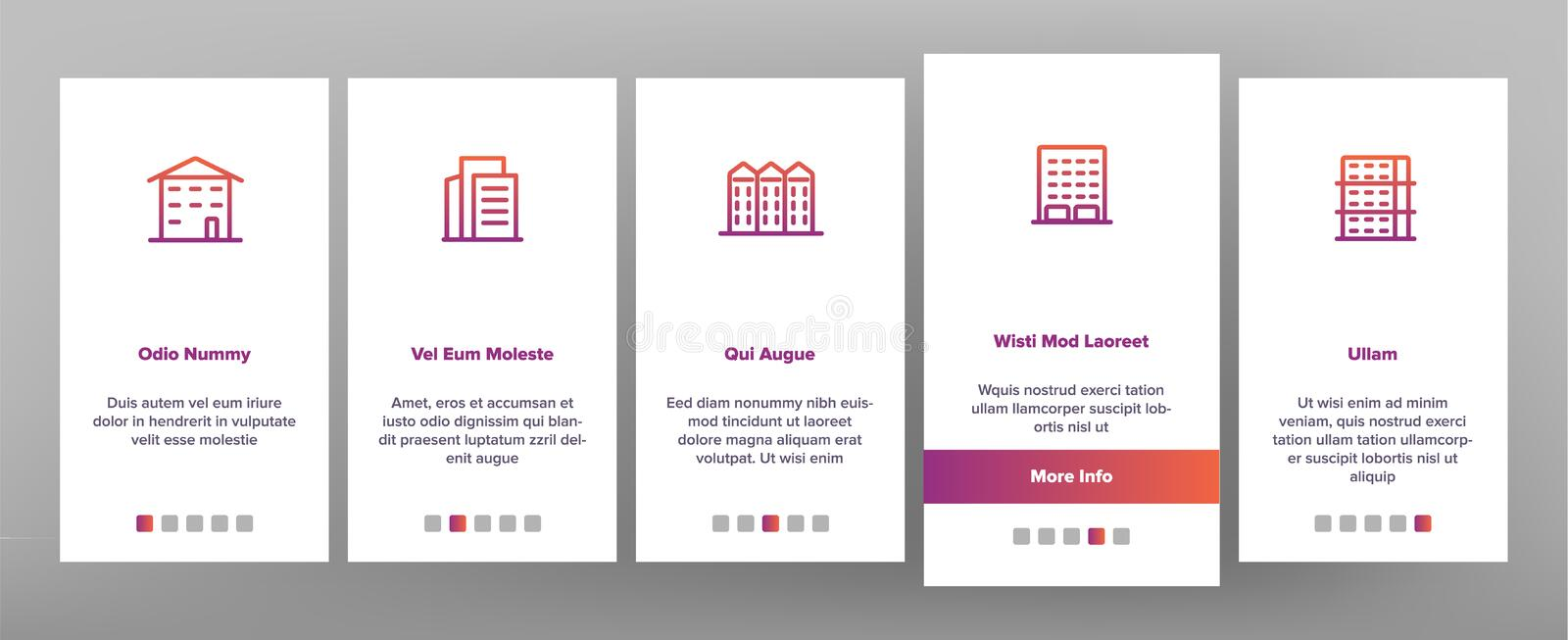 Dwelling House, Condo Vector Onboarding Mobile App Page Screen. Dwelling House, Condo Onboarding Mobile App Page Screen Vector. Condo, Apartment Buildings vector illustration